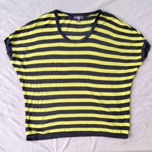 Alo Mesh Yellow and Gray Athletic Short Sleeve Top